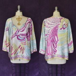 EMILIO PUCCI psychedelic silk tunic caftan blouse